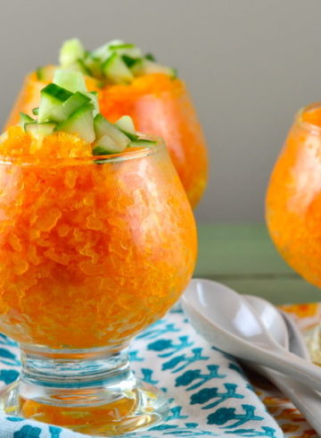 Savory Carrot Ginger Granita With Tangy Cucumber Topping
