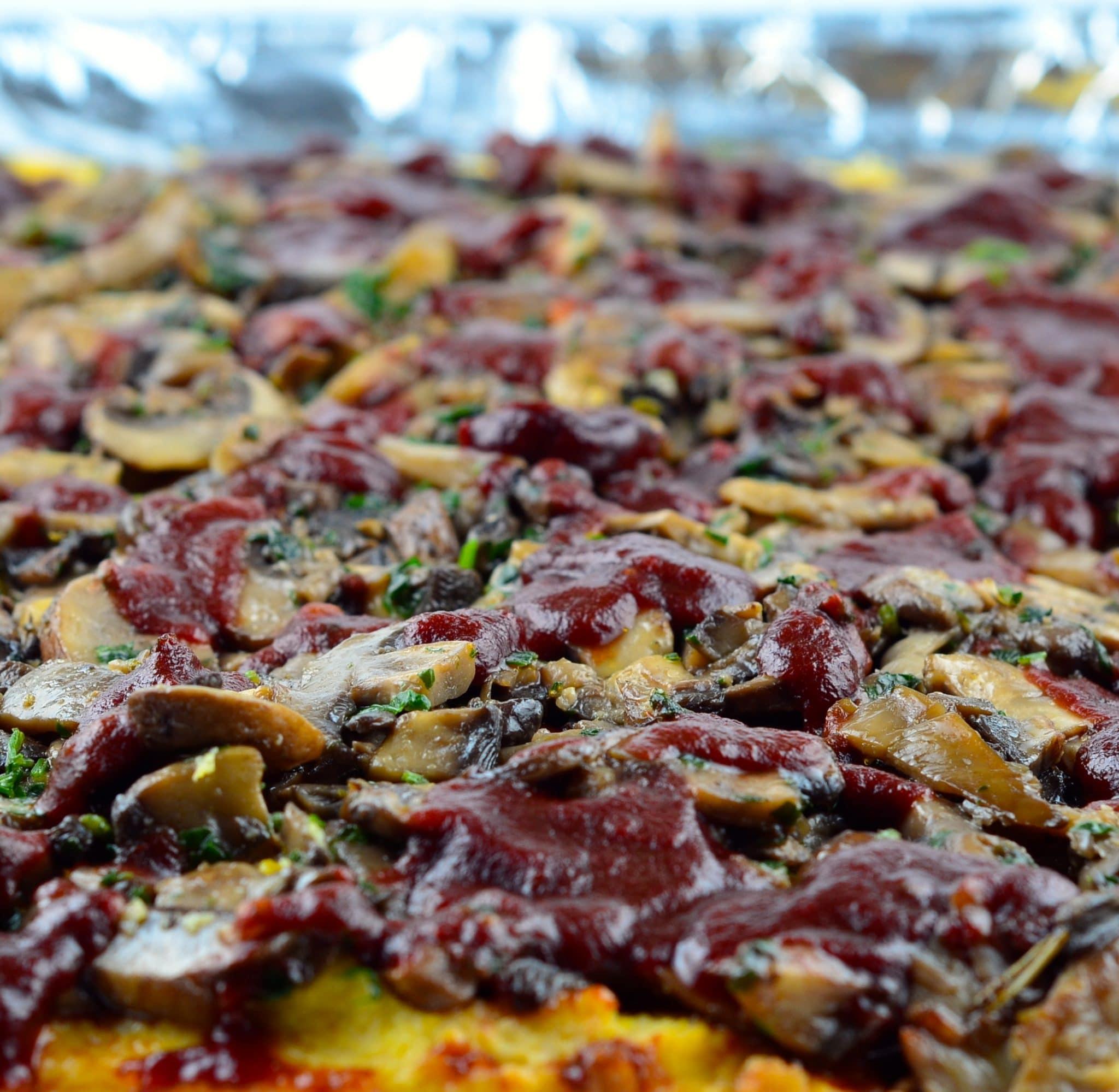 MEATLESS MONDAY – Cashew Polenta With Mushrooms & Tomato Pomegranate Reduction
