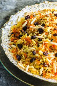 Close up view of a bowl of Rosh Hashanah sweet basmati rice
