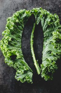 Kale rib and leaves separated