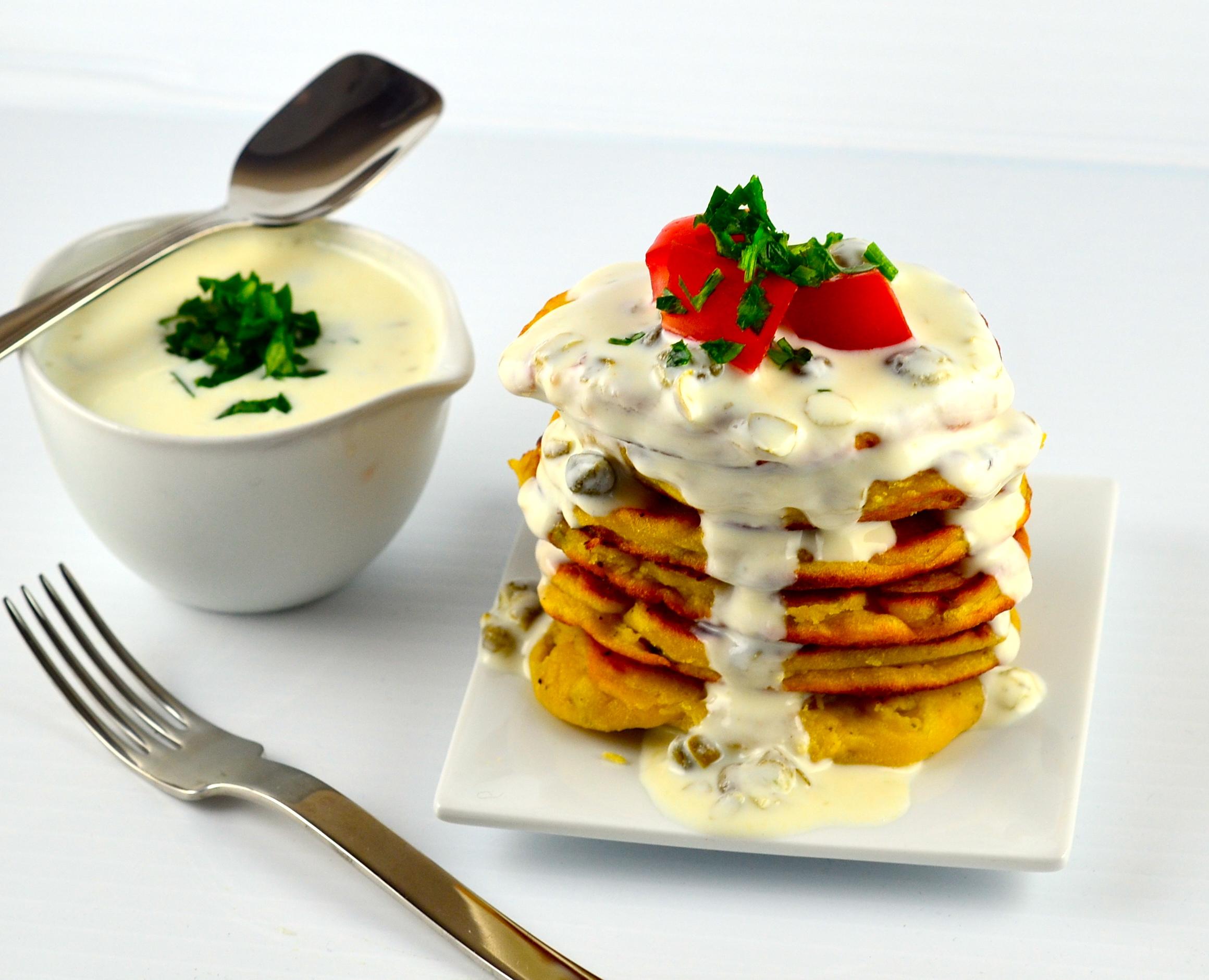 Savory Chickpea Flour & Scallion Pancakes With Greek Yogurt Caper Sauce