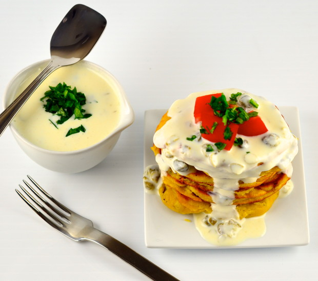 Greek yogurt and chickpea flour pancakes