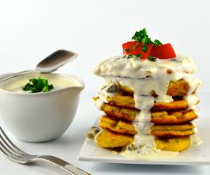 capers, greek yogurt, lemon, pancakes, savory, chickpea flour, garbanzo flour, scallions, panisse, socca, vegetarian, gluten free, meatless monday, kosher,