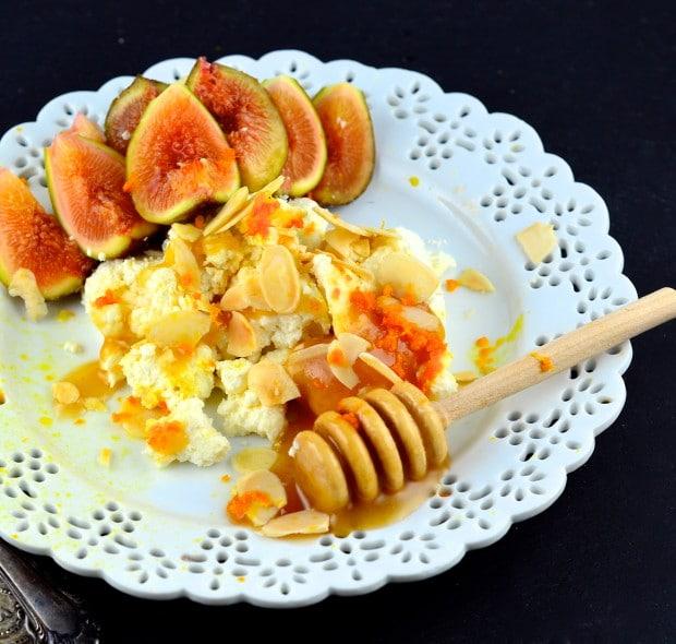 Home made orange cardamom ricotta
