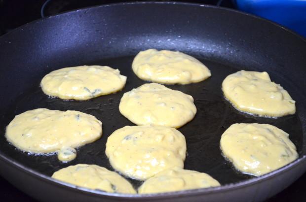 garbanzo flour and scallion pancakes