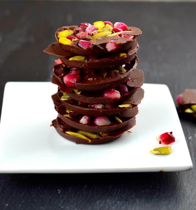 Pomegranate & Pumpkin Seed Chocolate Coins. Gelt for Grown Ups