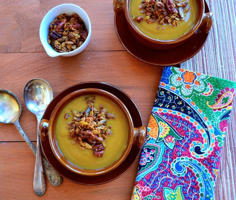 Creamy Vegan Pumpkin Soup with Spiced Savory Granola