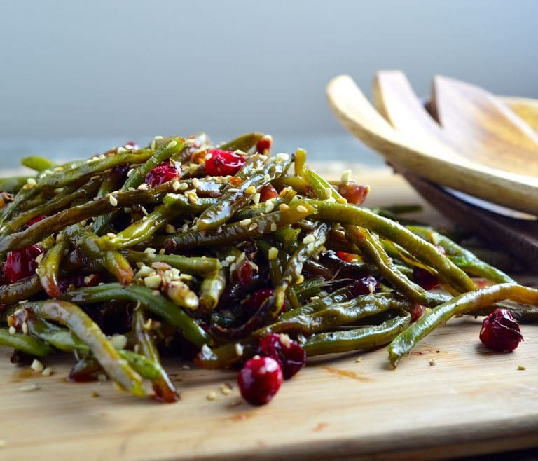 Roasted Green Beans & Fresh Cranberries Sprinkled With Dukkah