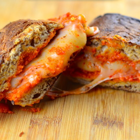 Manchego and Romesco Sauce Grilled Cheese #GrilledCheese, #manchegoCheese, #Romesco, #tapas, #Spain #ComfortFood #Vegetarian