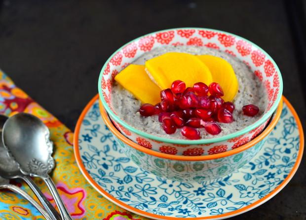 Home Made Paleo Almond Yogurt with Persimmons & Pomegranates. #Paleo #Vegan #Gluten Free #Kosher #almonds #chia seeds #persimmons #pomegranates