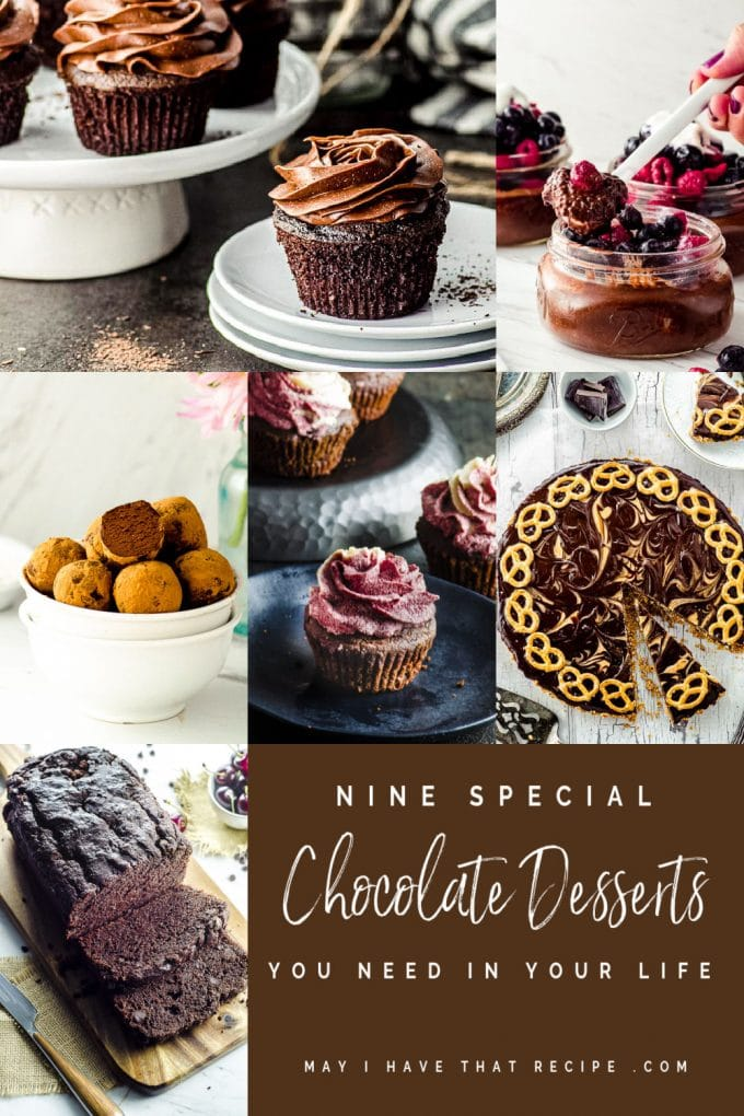 A collage of 6 chocolate dessert recipes