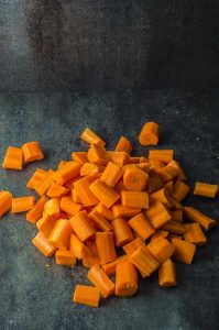 carrots diced for moroccan carrot salad