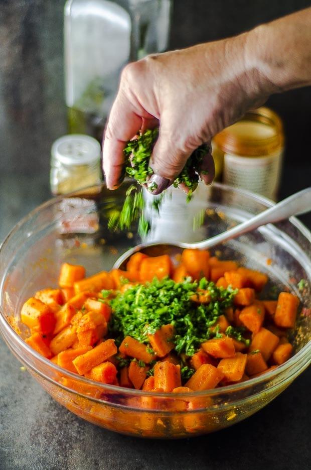 Adding Cilantro to carrot salad