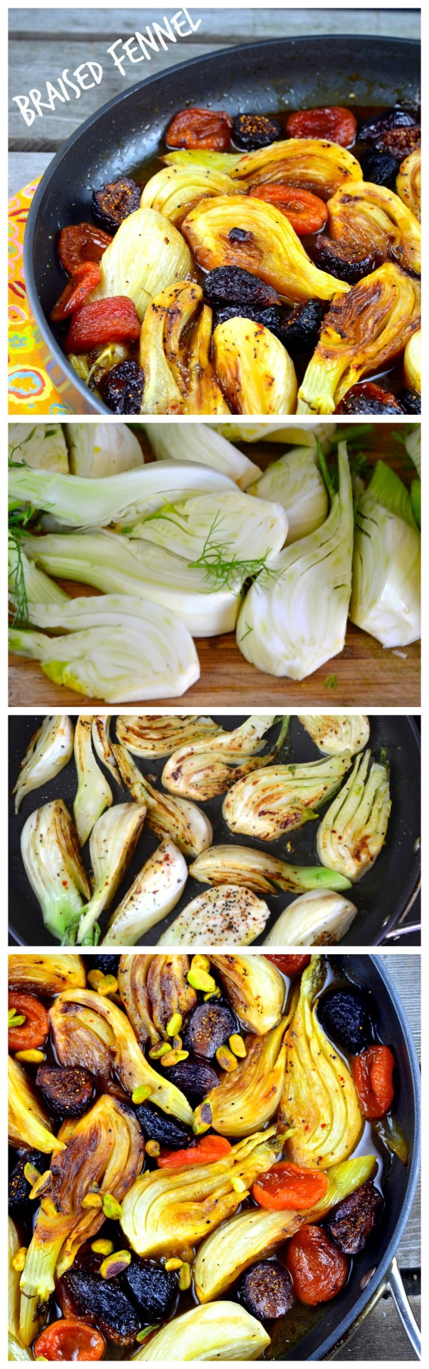 This Braised Fennel with Apricots and figs, brings a nice combination of sweet and savory deliciousness. A side dish that will sure impress your guests. Vegan and Gluten Free. #passover #GlutenFree #Side #Vegan #holiday #Fennel #recipe