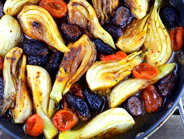 Close up of Braised Fennel with Apricots & Figs in a skillet