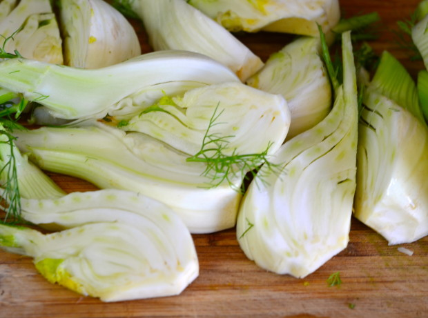 Close up of raw fennel cut into quarters