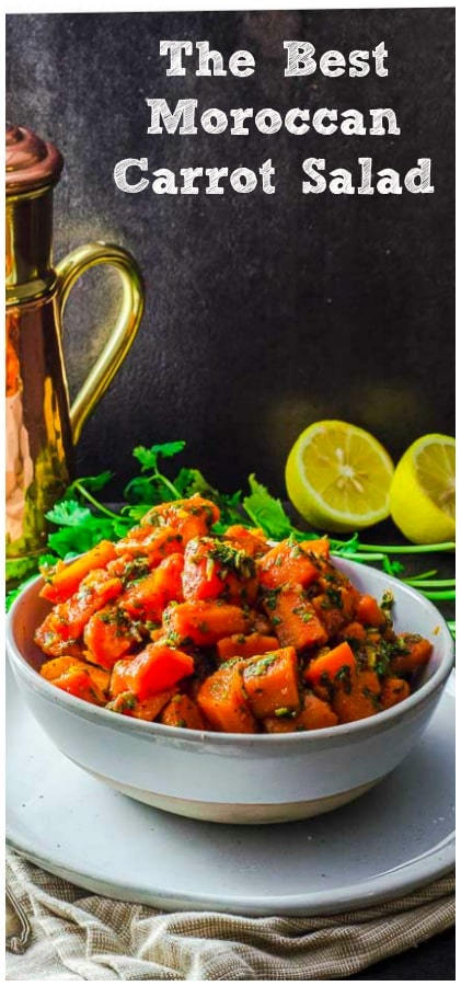 The Best Moroccan Carrot Salad: A great side-dish that takes minutes to prepare, our Moroccan carrot salad has a beautiful presentation and it can be served with a casual supper or formal holiday meals. #side #Holidays #moroccan #recipes #carrots #salad #Vegan #glutenFree #kosher #Rosh HaShana #Passover