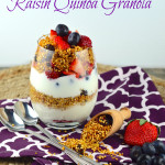 A parfait of gluten free quinoa granola for passover