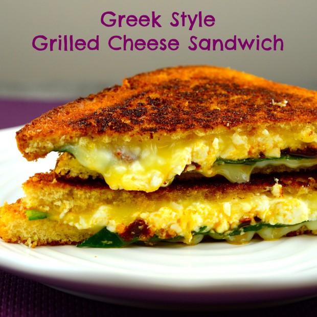 """Greek Style"" grilled cheese sandwich #grilled cheese #sandwich #kosher #vegetarian"