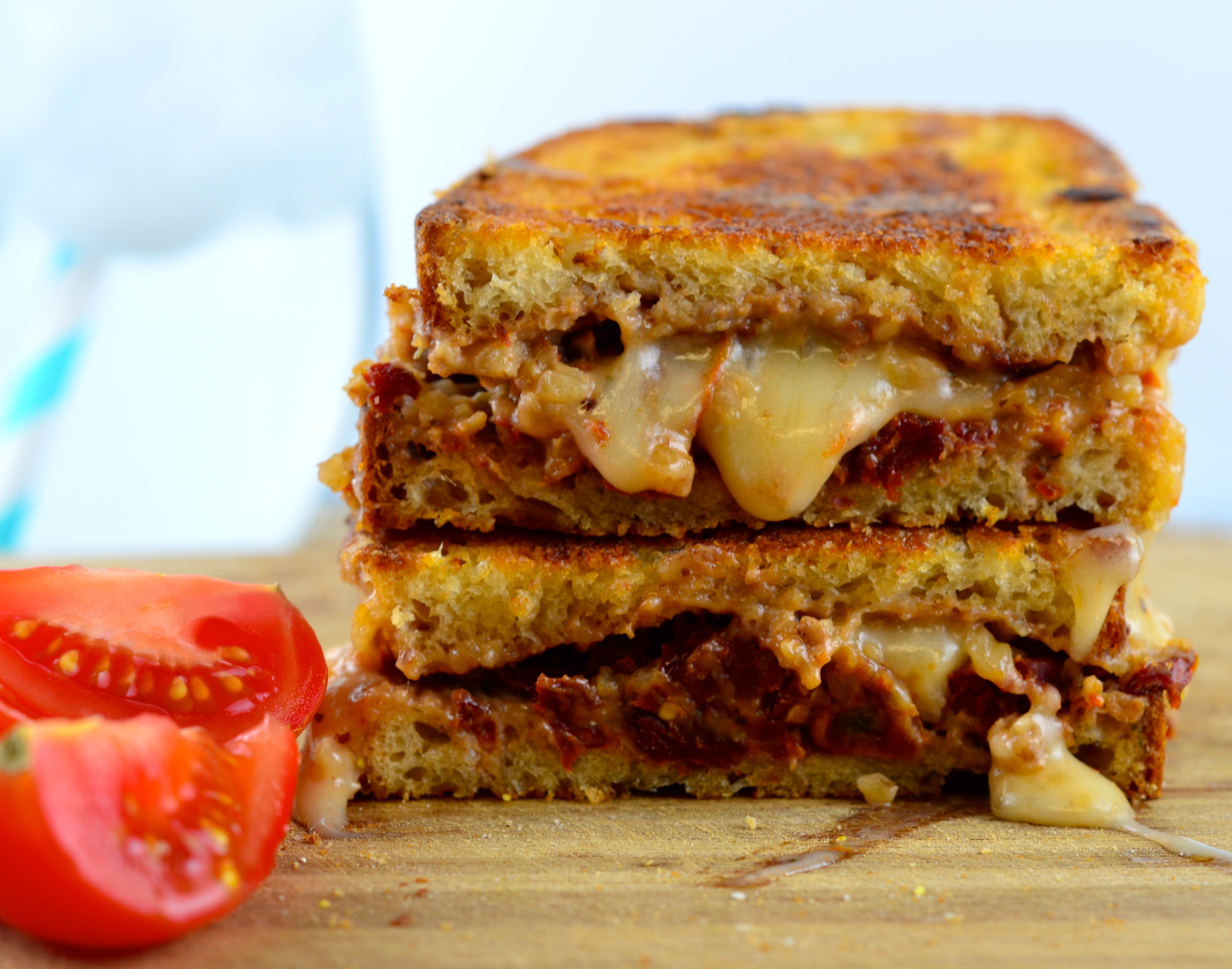 Vegan Walnut, Sun Dried Tomato & Basil Grilled Cheese Sandwich