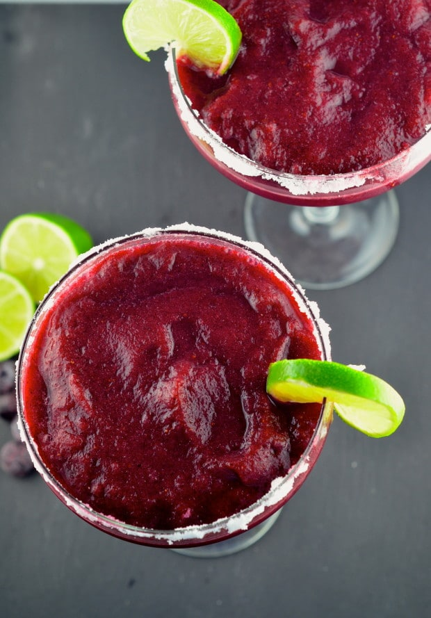 Blueberry Lime Frozen Margaritas - #drinks, #summer #blueberries #Lime #vegan #glutenFree #kosher #margaritas - May I Have That Recipe