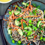 Vegetarian Recipe Ideas for your 4th of July BBQ : Cold Soba Noodles With White Miso Dressing #vegan #glutenFree #edamame #miso #sesame - #BBQ, #4th of July, #recipes, #vegetarian #picnic #kosher