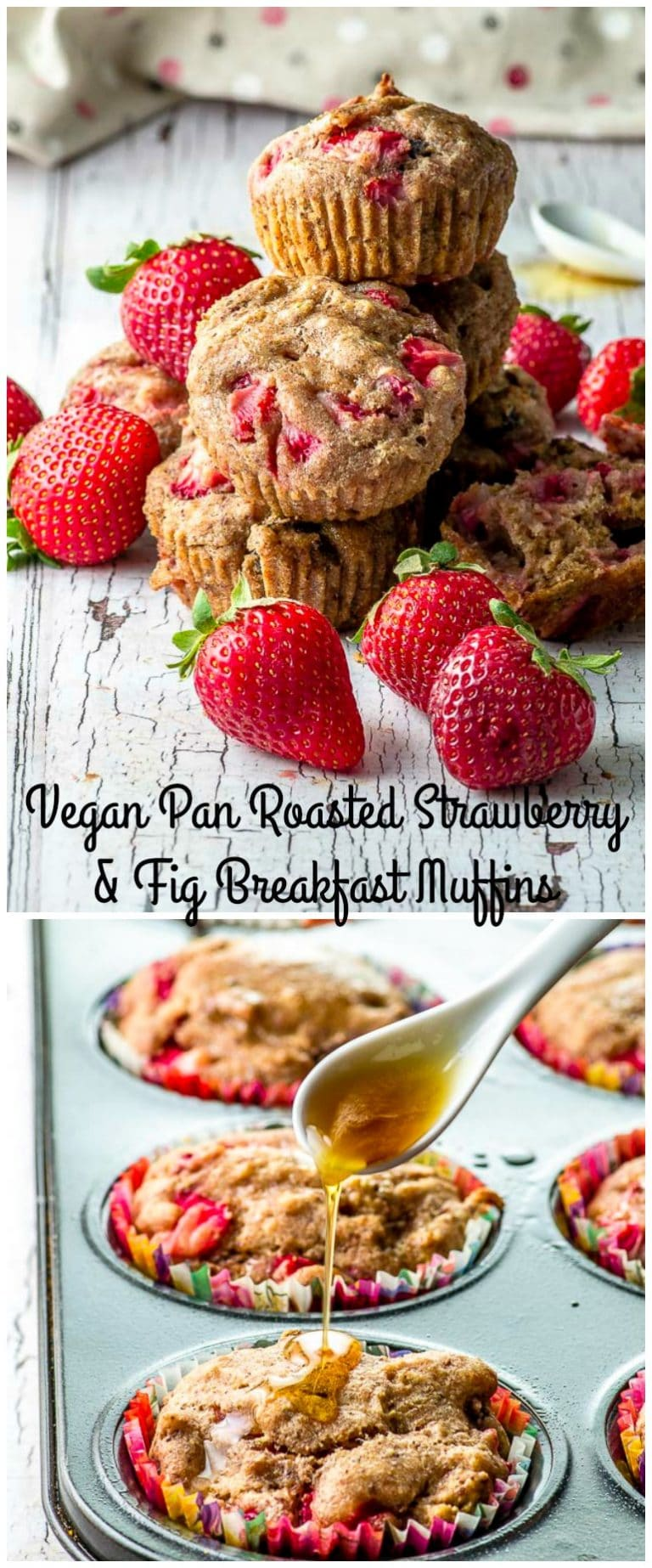 These Pan Roasted Strawberry and Fig Breakfast Muffins are refined sugar free, made with spelt flour and healthy enough to eat for breakfast. #breakfast #muffins #strawberries #healthy #spelt
