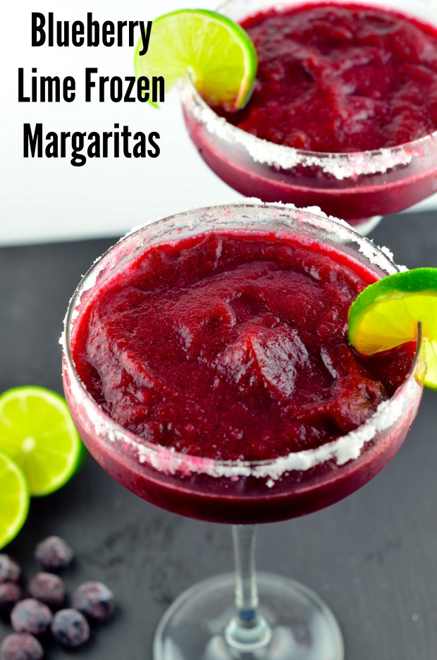 Vegetarian Recipe Ideas for your 4th of July BBQ : Blueberry Lime Frozen Margaritas - #BBQ, #4th of July, #drinks, #summer #blueberries #Lime #vegan #glutenFree #kosher #margaritas - May I Have That Recipe