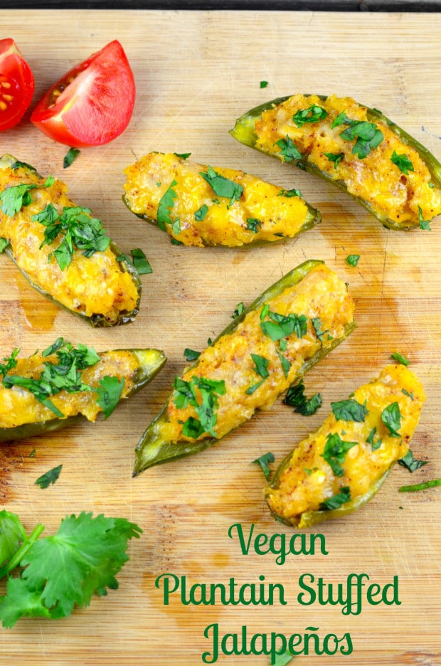 Plantain & Cheese Stuffed Jalapeño Peppers - Vegan and Gluten Free - We often get asked what to serve Vegans or vegetarians on a party.  These Stuffed Jalapeño peppers are a perfect appetizer not only for vegans  and vegetarians, but for Gluten free people as well.   A little sweet, a little spicy and completely addictive finger food.
