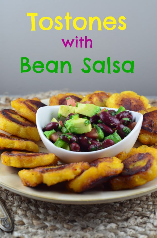 Tostones with Bean Salsa – Vegan, vegetarian, kosher and Gluten Free - Plantains, pan fried to perfection are the perfect vehicle for the healthy bean salsa. Perfect for your next party, meatless monday dinner, or Super Bowl party or Cinco de mayo celebration