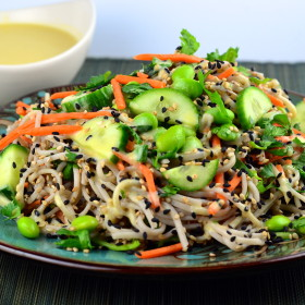 Cold Soba Noodles With White Miso Dressing #vegan #glutenFree #kosher #edamame #miso #sesame