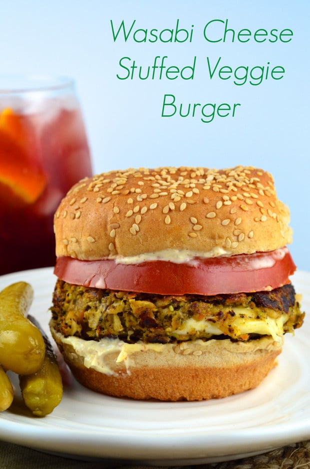 Cheese stuffed mushroom veggie burger