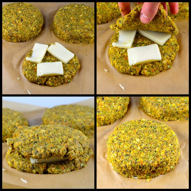 Howto stuff a Wasabi Cheese Stuffed mushroom veggie burger