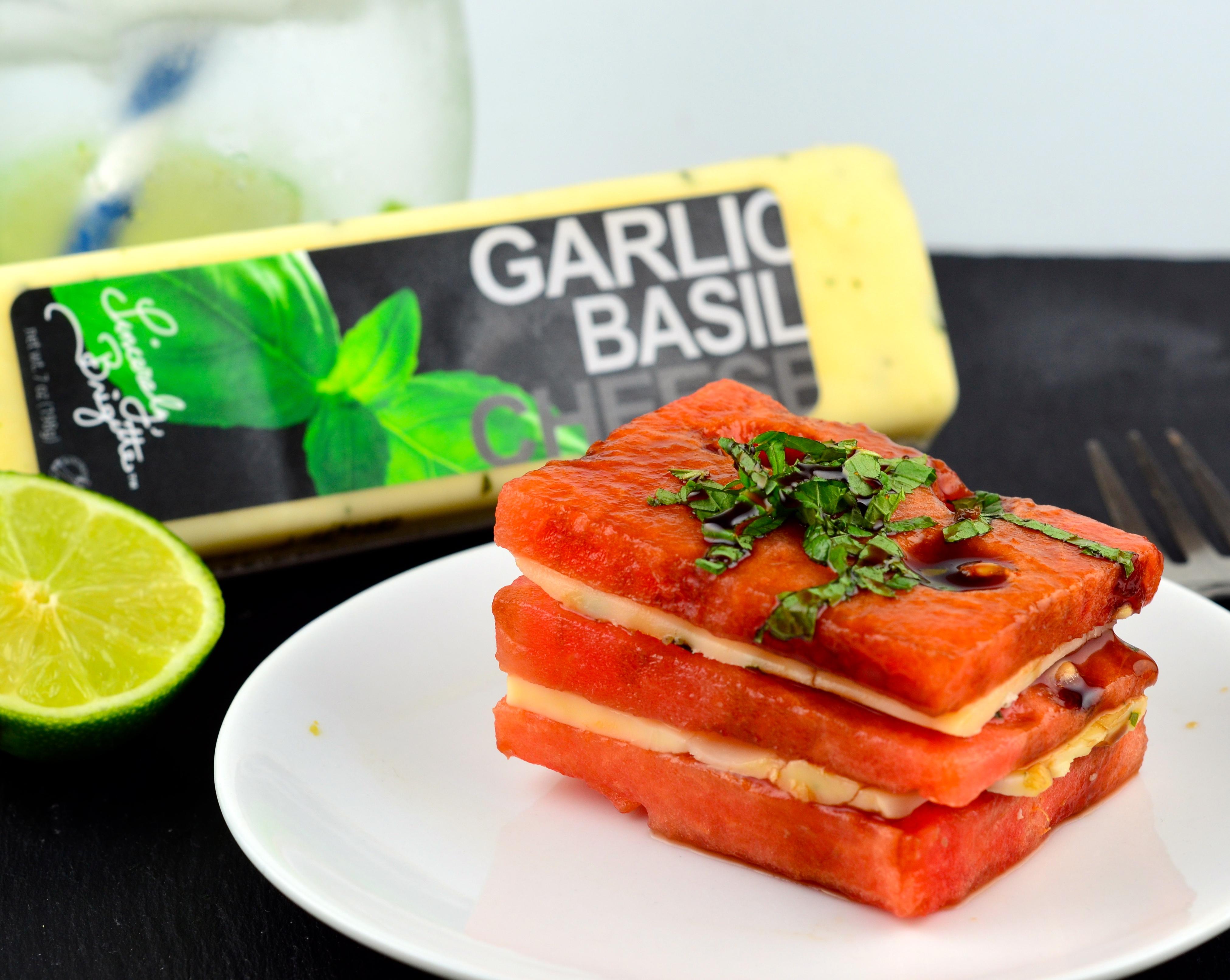 Watermelon & Cheese Napoleon With Balsamic Glaze