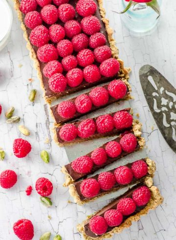 Vegan Raspberry Chocolate Tart
