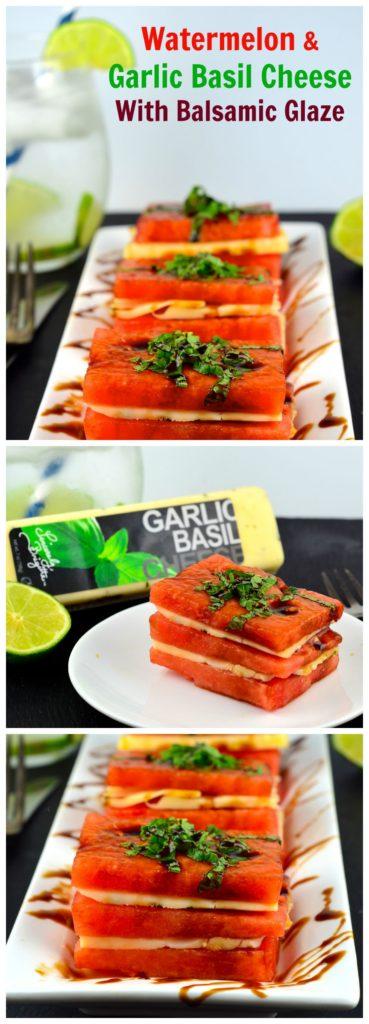 Watermelon & Cheese Napoleon #summer #watermelon #cheese #balsamic vinegar #appetizer #Basil #glaze #stacks