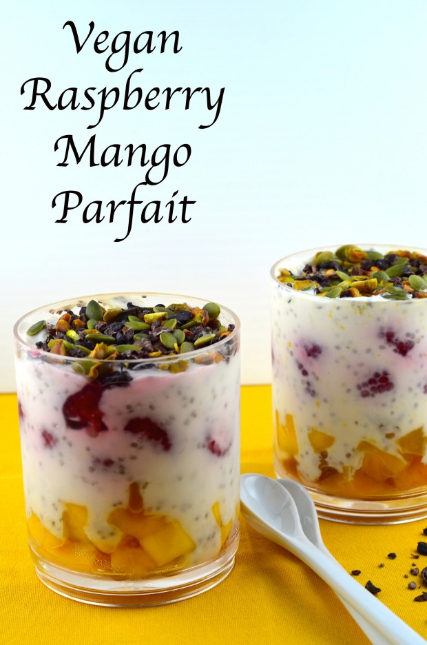 Vegan raspberry mango parfait #parfait #breakfast #vegan #mango #raspberry #chia seeds #orange #cocoa nibs #pumpkin seeds #glutenFree