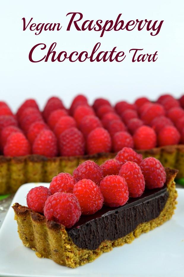 Vegan Raspberry Chocolate Tart