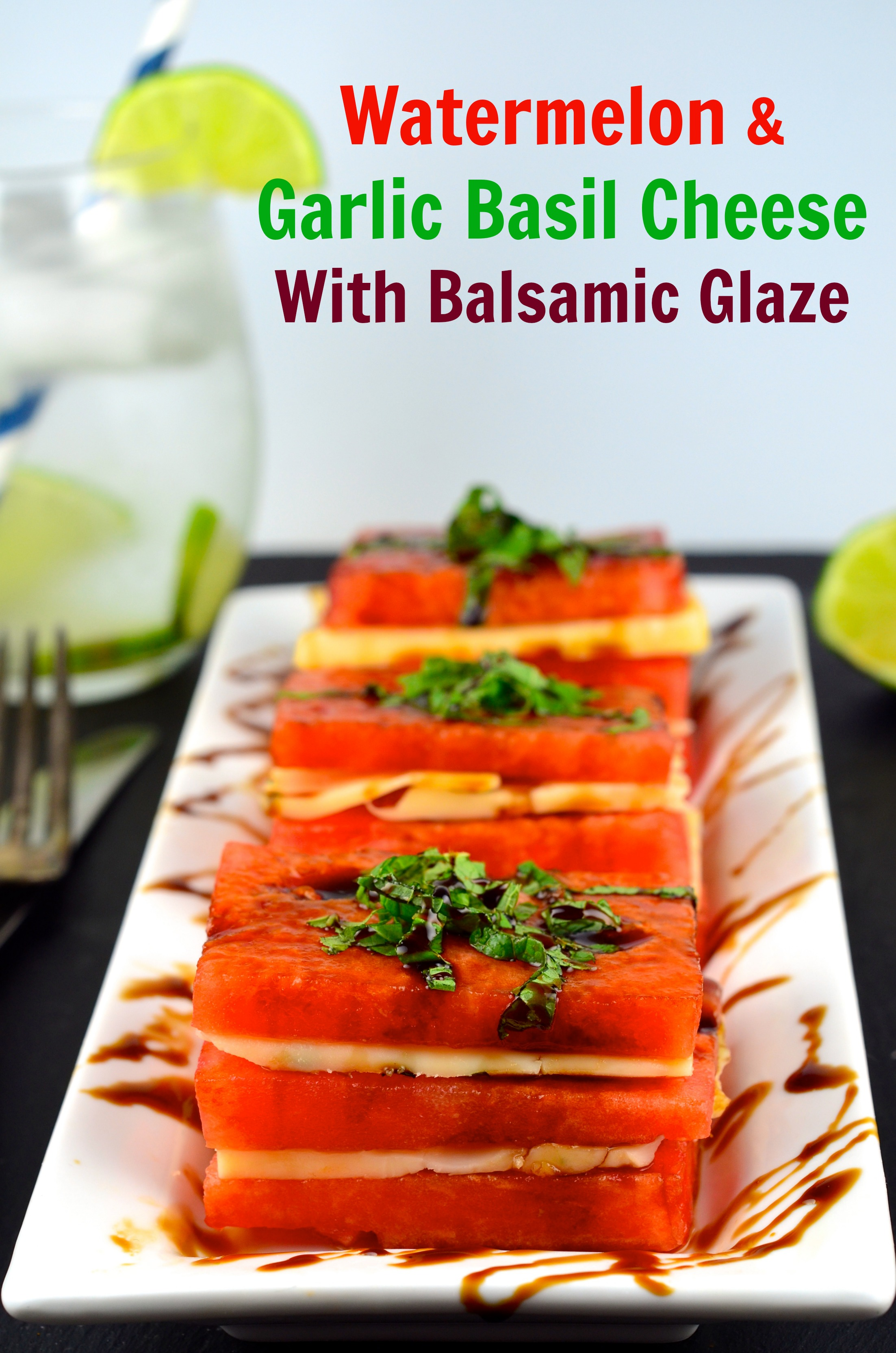 Watermelon and Cheese Napoleon with Balsamic Glaze | Easy Finger Foods | Recipes And Ideas For Your Party