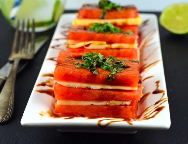 Watermelon and Cheese Napoleon #vegetarian #appetizer #summer  #watermelon #kosher #sincerelyBrigitte #cheese #watermelon