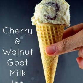Walnut & Cherry Goat Ice Cream #Ice Cream, #dessert #Goat's milk #Walnuts, #cherries