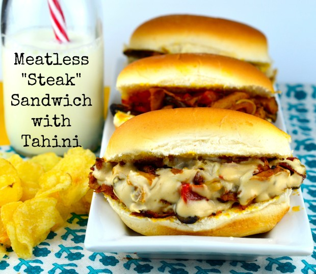 "Meatless ""Steak"" Sandwich with Tahini #vegan #vegetarian #spices #middleEast #sandwich"
