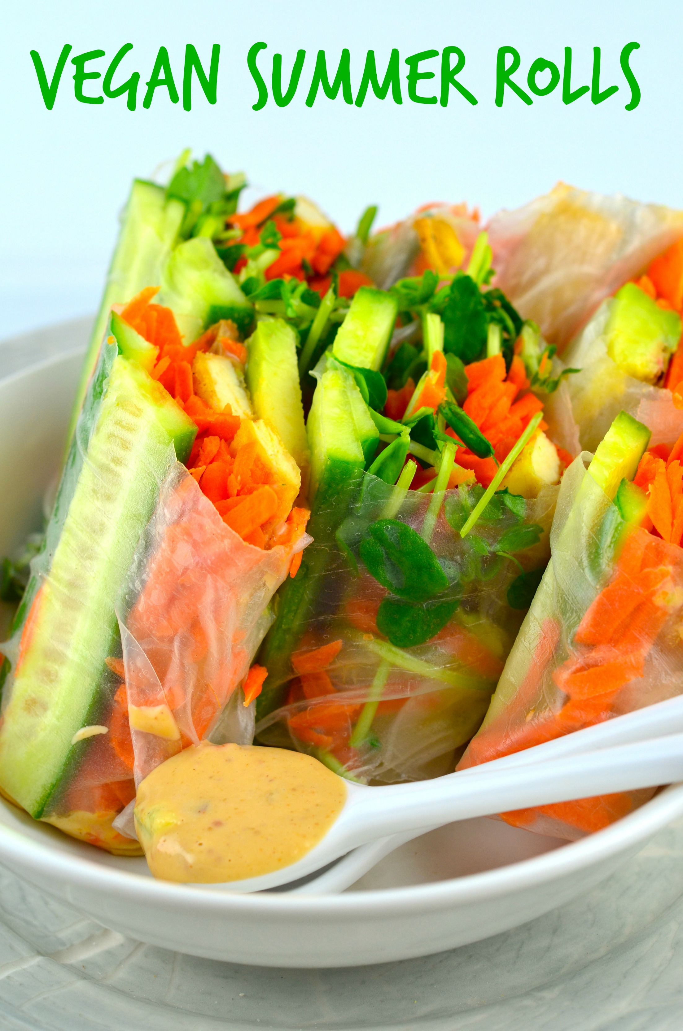 Vegan Summer Rolls With Peanut Coconut Dipping Sauce