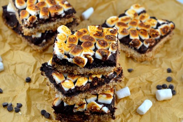 Gluten Free S'mores bars #gluten free, #kosher #parve #chocolate #s'mores #dessert #marshmallows