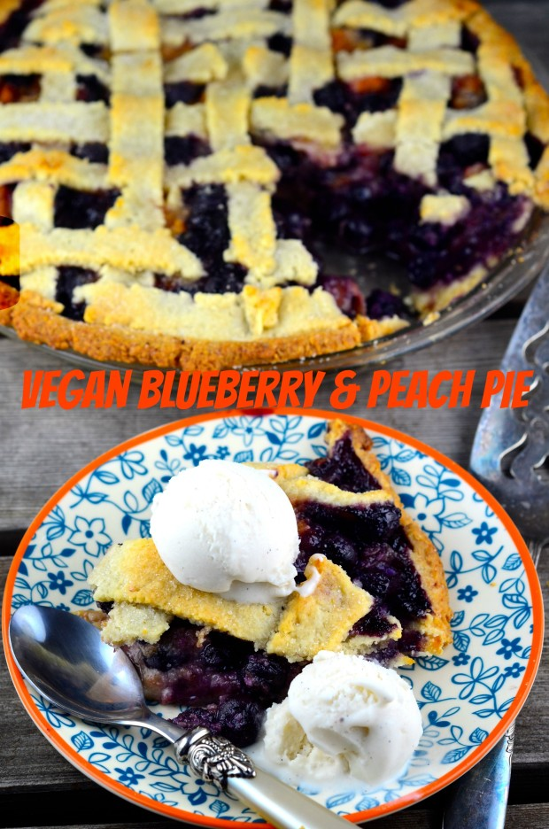 Vegan Blueberry and Peach Pie #Blueberry #peach #pie #vegan #Summer #kosher #parve