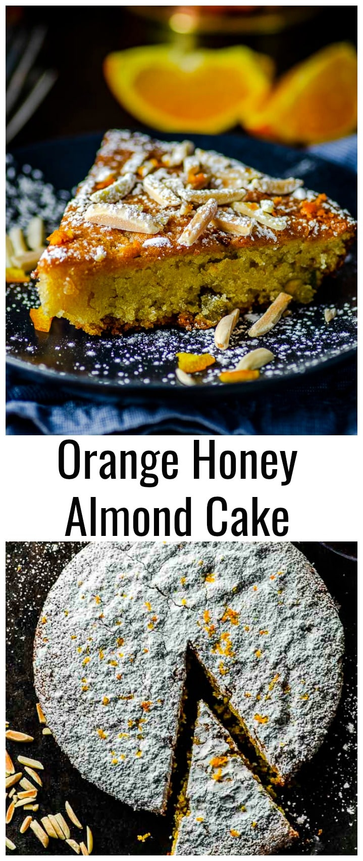 Eight simple ingredients are all you need to make our Sweet, chewy, nutty and satisfyingflourless Orange Honey Almond Cake. This Almond Cake makes for a fabulous ending of your Rosh HaShanah, Passover or holiday meal. #rosh Hashanah #passover #gluten-free #cake #flourless #almonds #orange #honey #dessert #easy