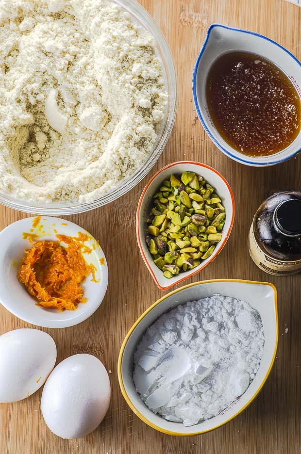 ingredients for Orange Honey Almond Cake