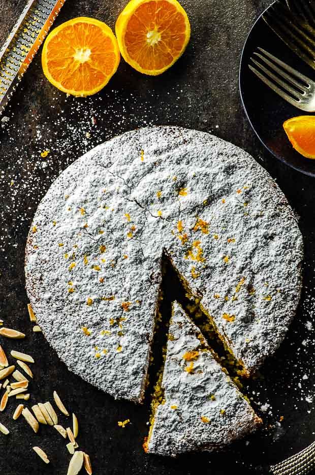 bird's eye view of an Orange Honey Alomnd Cake