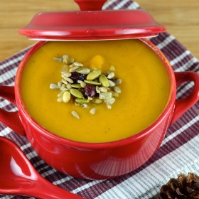 roasted butternut squash soup - #butternut squash, #soup #vegan #kosher #glutenFree #fall #thanksgiving #healthy