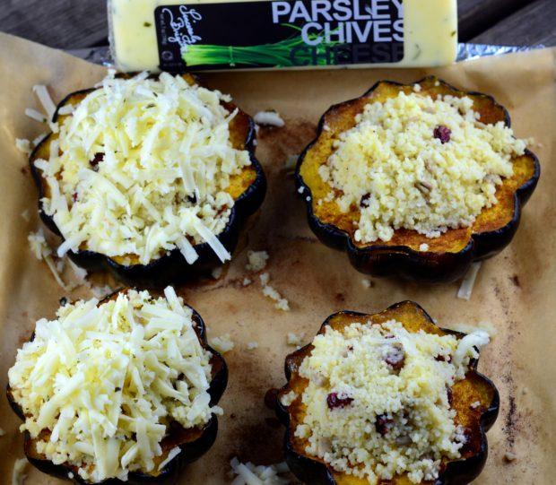 Couscous & Cheese Stuffed Acorn Squash #vegetarian #Squash #acorn #cheese #cranberries #main #appetizer